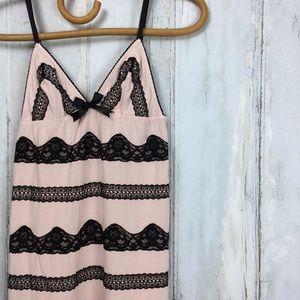 VICTORIA'S SECRET Sleep Dress Pink W/ Black Lace S